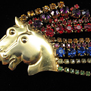 Incredible Vintage Double Horse Head Brooch with Rhinestone Mane