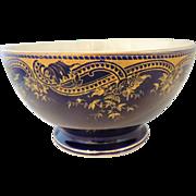 Cobalt BLUE & Gilt German ANTIQUE Pedestal  Pottery Bowl - Lorraine / Saargemünd Sarreguemines