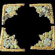 ENAMELED Gilded Frame Corners Antique