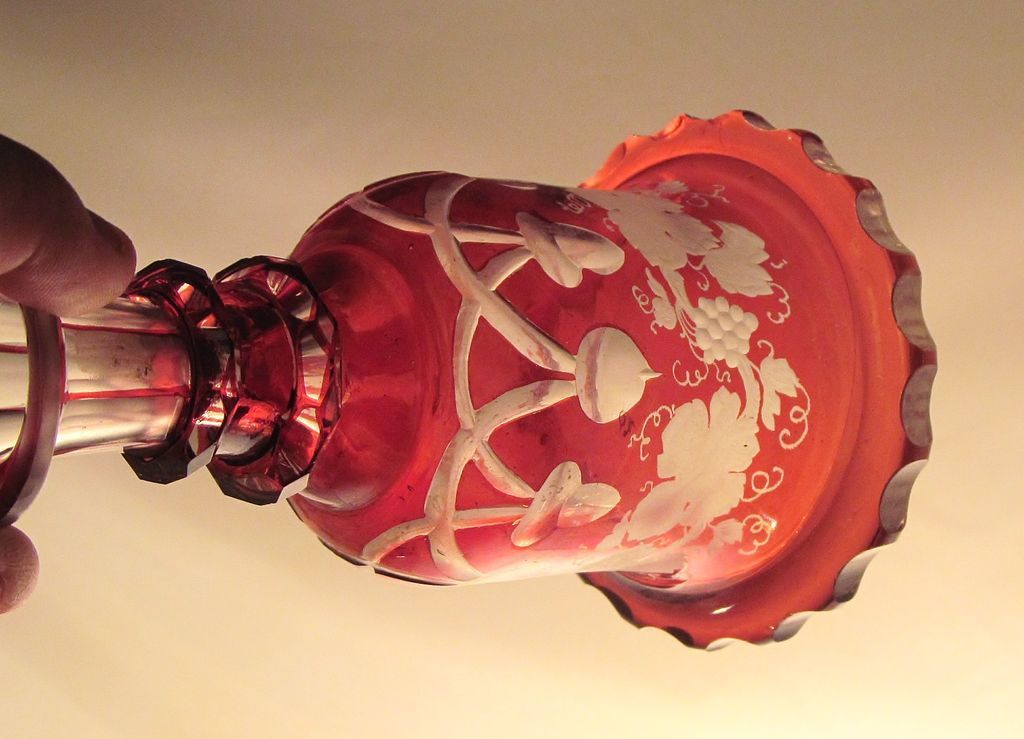 Bohemian  Cut Glass  Cologne  Perfume  Ruby Red / Cranberry  1860's