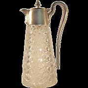 1880's  RUSSIAN PATTERN  Cut Glass Pitcher  Silver Plate