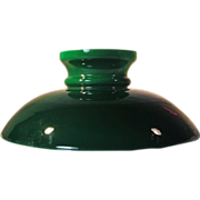 Rare Shape 1870's Emerald Cased Glass  Lamp Shade