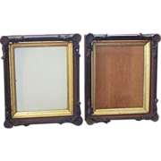 Pair  SEASHELL TRIM  Shadow Box Frame  Walnut  Gilt