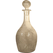 1825-45  Sunburst Decanter  Mold Blown Original Stopper Boston Sandwich Glass