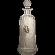 c.1870's  Boston Sandwich Glass Co.  Cut Grant Bar Bottle  RARE  Cut Glass