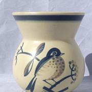 Aluminia Faience Denmark Art Deco Vase Handpainted Bird