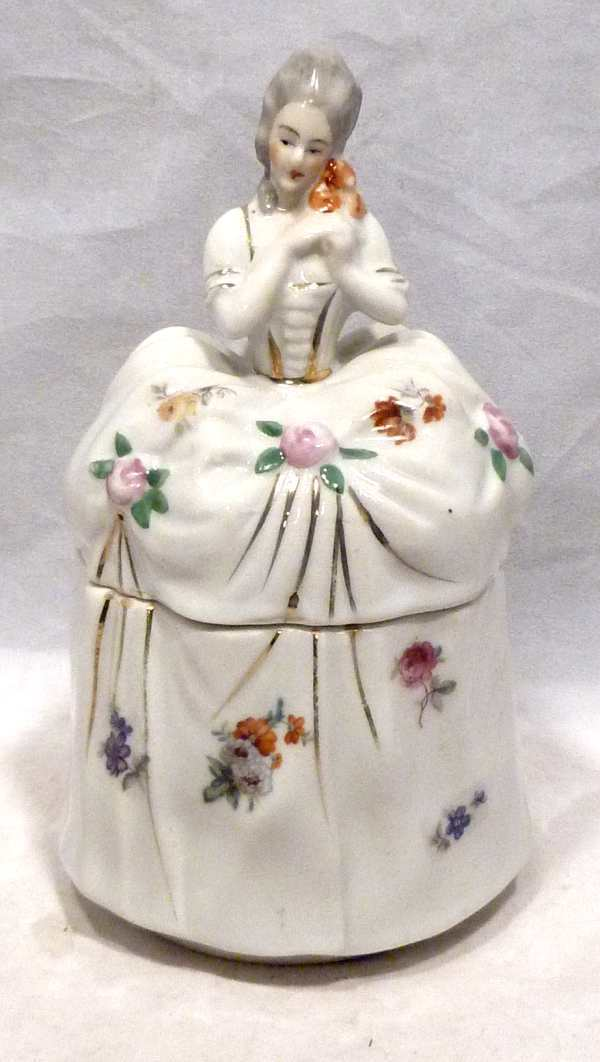 Vintage Porcelain Half Doll Tall Vanity Powder Jar