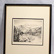 "LYMAN BYXBE Listed Colorado Artist 1930s Etching pencil signed ""Bear Lake"""