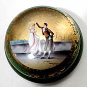 Antique Hand Painted Porcelain Dresser Box w/ dancing Couple