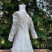 Exquisite Edwardian Wedding Dress, Lace & Bows Over Silk Slip, Very Feminine