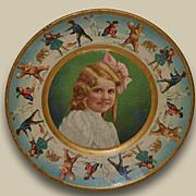 1907 Tin Lithograph Plate, Christmas Kids & Bears Snowball Fight, Union Pacific Tea Co.