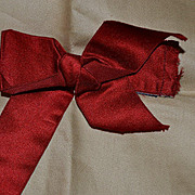 Antique Red Silk Bow, Victorian Trim, Great for Dolls (2)