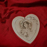 1910s Die Cut Heart Shaped Valentine of Lady & Cupid, Signed Katherine Elliot