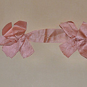 Antique Pink Silk Double Bow for Doll Dress Decoration, Hair Bow