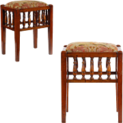 Pair of Edwardian Antique Foot Stools, England c. 1900