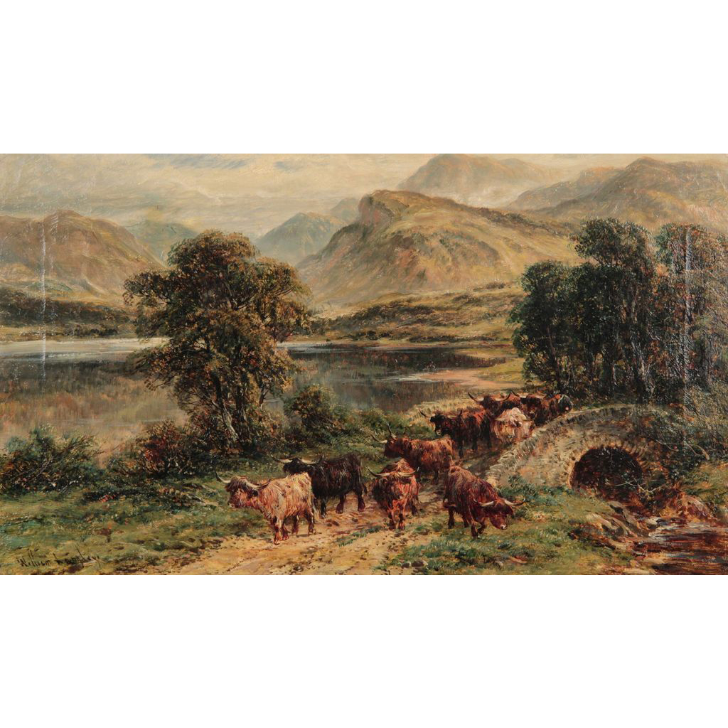 "William Langley Antique Oil Painting on Canvas, (British, 1852-1922) ""Loch Achray"", A Scene of Cattle at a Highland Lake"
