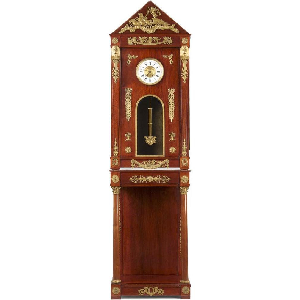 French Empire Egyptian Revival Longcase Clock 1910, R.J. Horner