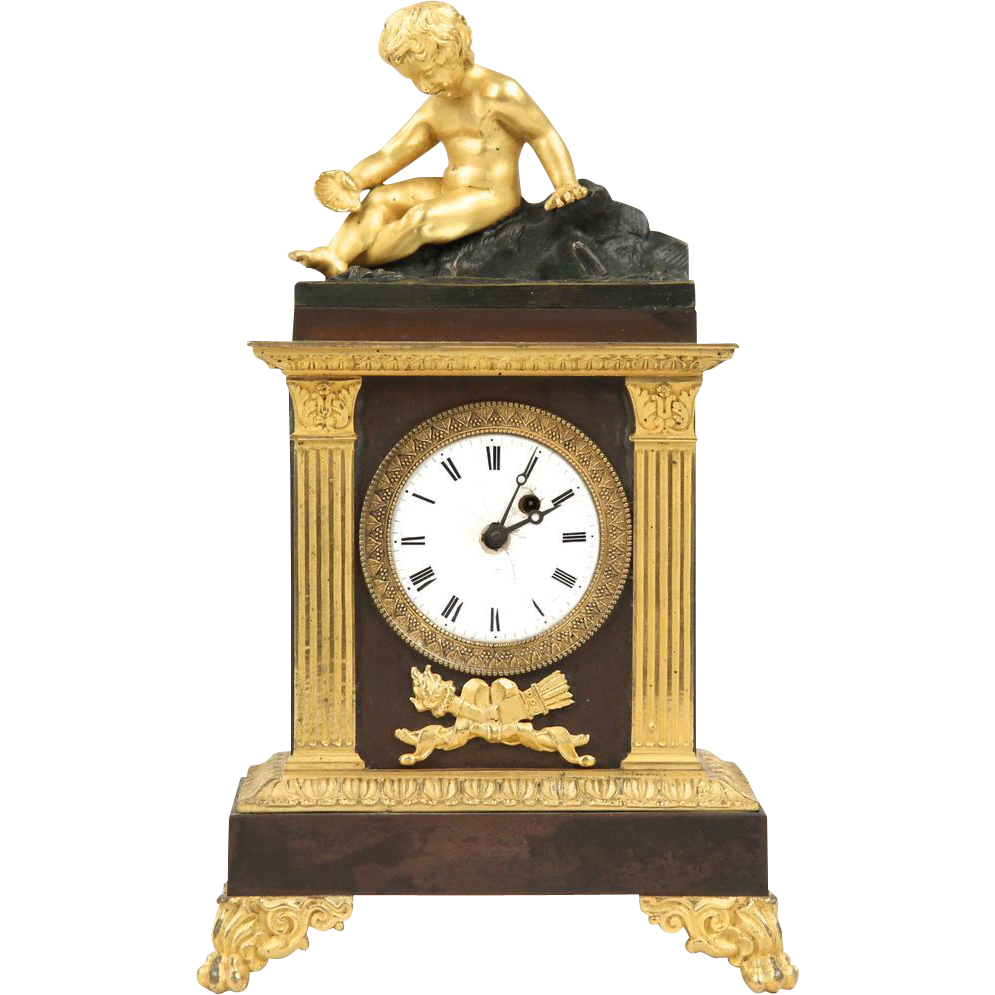 French Empire Antique Mantle Clock, Gilt and Patinated Bronze