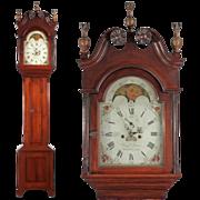 American Federal Antique Tall Case Clock, Benjamin Morris, Bucks County, Pennsylvania