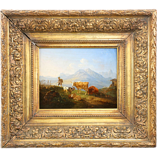 German School Antique Oil Painting of Cows Cattle Sheet in Mountains, 19th Century