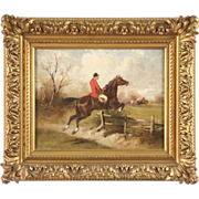 Antique Equestrian Oil Painting of Hunt Scene, Signed