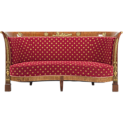 French Empire Antique Mahogany Sofa, 19th Century