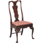 English Georgian Antique Side Chair in Carved Mahogany, 19th Century