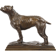 French School Bronze Sculpture of Dog Bull Terrier, 20th Century