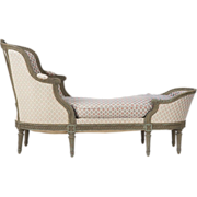 French Louis XVI Antique Chaise Longue Lounge Settee, c. 1900