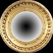 American Federal Convex Giltwood Mirror, Early 19th Century