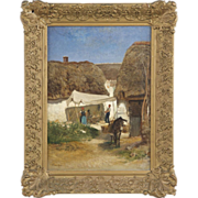 Albert Heinrich Brendel Antique Painting of Village with Donkey, Signed