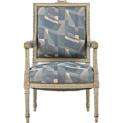 French Antique Gray Painted Armchair Fauteuil, 19th Century