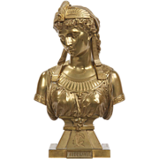 Egyptian Revival Antique Bronze Sculpture of Cleopatra by Eutrope Bouret