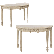 Pair of Neoclassical Style Console Tables with Worn Painted Finish, 20th Century