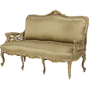 French Antique 19th Century Settee Sofa in Louis XV taste