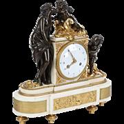 Louis XVI Antique Bronze Mantel Clock, 18th Century c. 1790