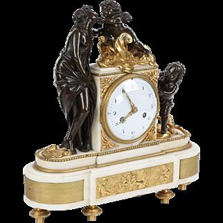French Antique Bronze Sculpture Mantel Clock of Venus and Cupids, 19th Century