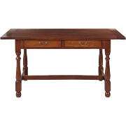 William and Mary Style Walnut Tavern Dining Table, Entirely Benchmade
