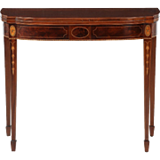 American Federal Style Inlaid Mahogany Card Table, Potthast Brothers