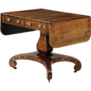 English Regency Antique Sofa Table in Rosewood w/ Brass Inlays c. 1820