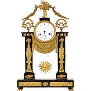 Egyptian Revival French Empire Gilt Bronze Antique Mantel Clock, 19th Century