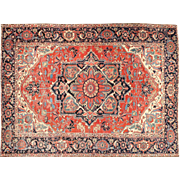 Authentic Antique Heriz Persian Carpet Rug, Room Size, 12.5 x 9.75 c. 1910