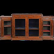 English Regency Rosewood Breakfront Cabinet Console Bookshelf, 19th Century