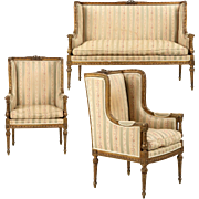 French Antique Settee and Arm Chairs, Louis XVI Style Parlor Suite, 19th Century
