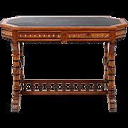 American Antique Library Table Desk, Renaissance Revival c. 1880-90