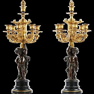 Pair of French Bronze Candelabra by Victor Paillard w/ Putto Sculpture, 19th Century