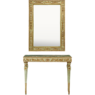 French Louis XVI Antique Green Marble Painted Console Table with Mirror