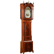 English Georgian Mahogany Antique Tall Case Clock, Tribute to Admiral Horatio Nelson