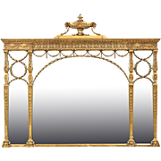 Large French Carved Antique Mirror for Over-the-Mantel