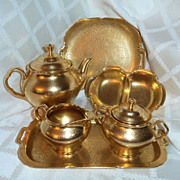8 Piece Pickard AOG Gold Floral Daisy Pattern Teapot Sugar Creamer Tray Divided Dish Sq Plate Server